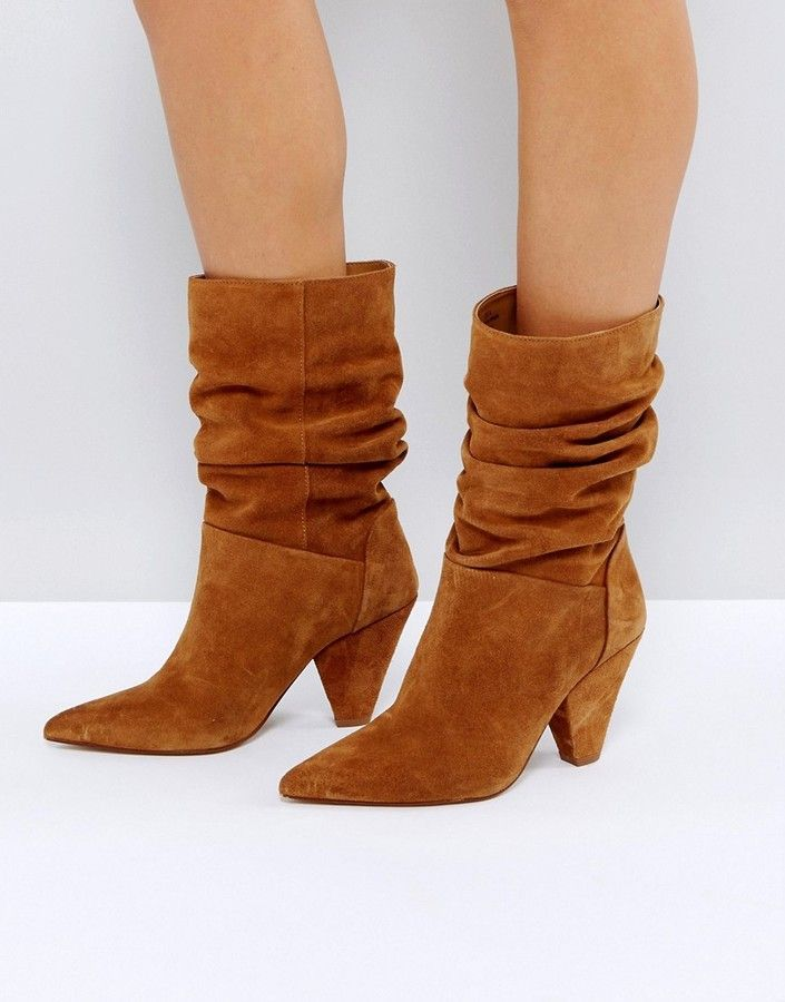 bc44439b2832 Asos CIANNA Suede Slouch Cone Heel Boots