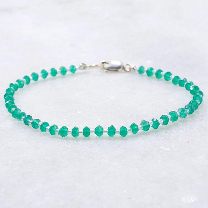 bddbfb5d0a62 Green Onyx Bead Bracelet Sterling Silver