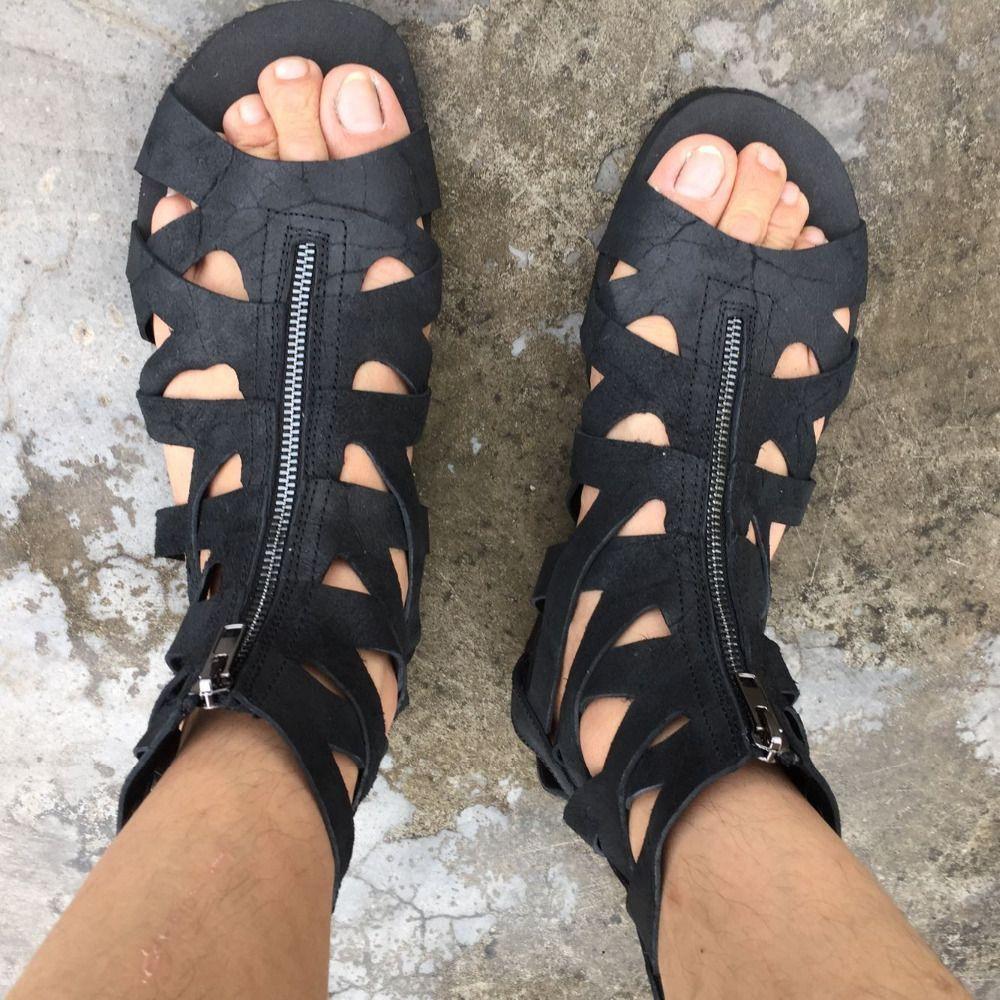 Aliexpress.com: Comprar 2017 Venta Caliente Zapatos de Los Hombres Sandalias Casuales Chaussure Homme Zip Botines Punta Abierta Hombres Zapatos Calados Alpargatas Pisos Sólidos zapatos de diseño de sandalias fiable proveedores en Your's Factory Store