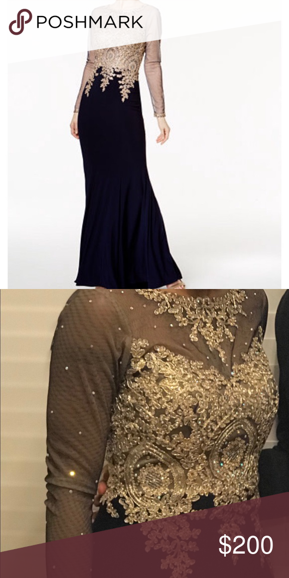 Xscape navy and gold gown | My Posh Picks | Pinterest | Gold gown ...