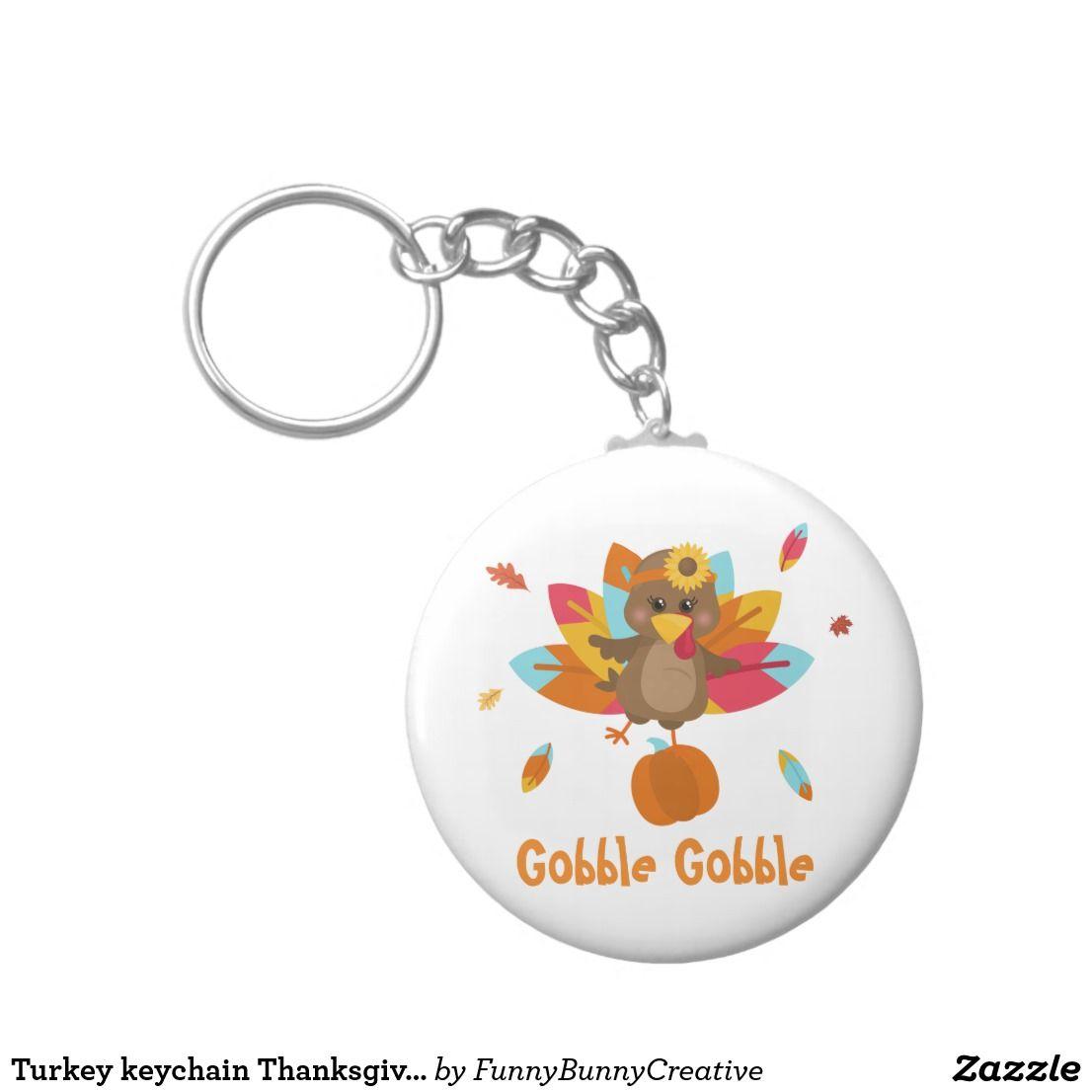 Turkey keychain Thanksgiving keychain Fall theme | Zazzle ...