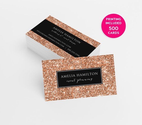9b6dda04996 Rose Gold Glitter Business Cards Design 500 Printed Business Cards Template  Personalized Calling Car