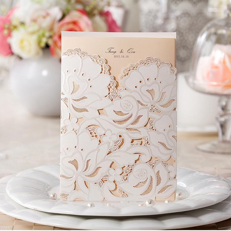 50pcspack customize wedding invitations flower hollow patterns 50pcspack customize wedding invitations flower hollow patterns cards laser cut elegant birthday invitation card filmwisefo