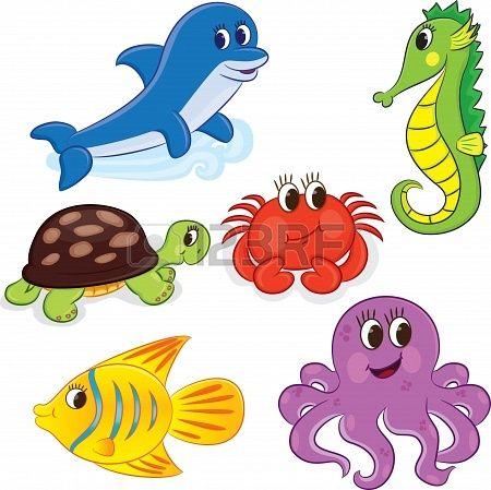 Conjunto De Ilustracion De Animales Marinos De Dibujos Animados Imagenes Infantiles De Animales Animales Marinos Ilustraciones De Animales