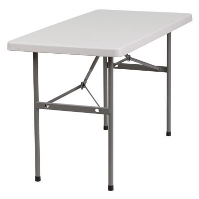 24\u0027\u0027W X 48\u0027\u0027L Granite White Plastic Folding Table - White in 2018