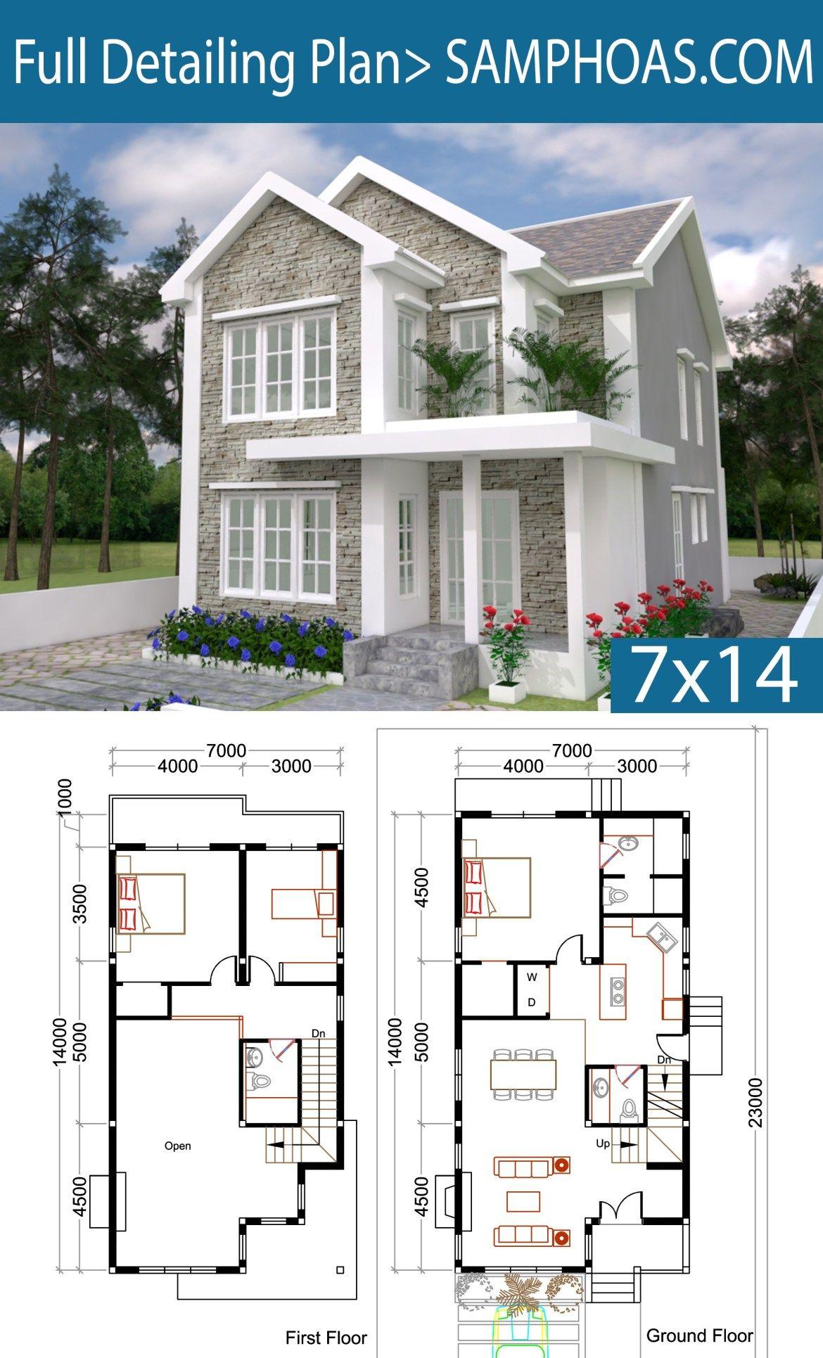 3 Bedrooms Home Plan 7x14m Samphoas Plansearch Sims House Plans House Plans Sims House Design