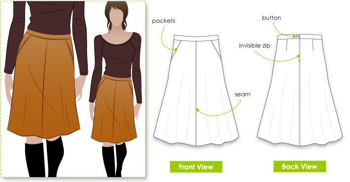 Mary-Ann Skirt sewing pattern. Classic flattering A-line skirt ...