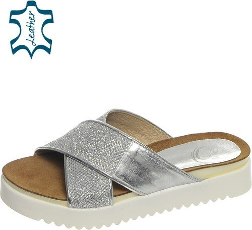 1bd9174c7 OLIVIA SHOES Strieborné dámske šľapky na športovej podošve DSL006 Sandále,  Topánky, Móda