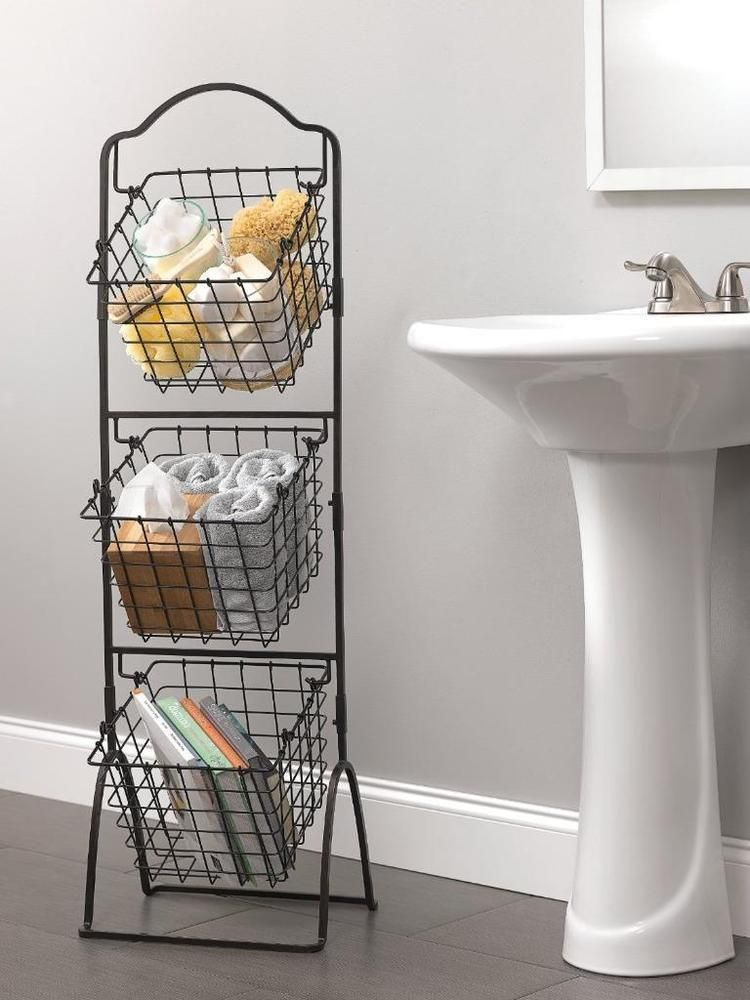 Wire Basket Storage Bins Organizer Rack Fruit Vegetable Stand 3 Tier Black Metal Mikasa Small Bathroom Storage Space Saving Bathroom Apartment Storage