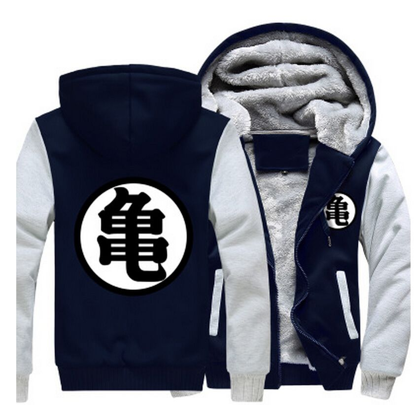 Dragon Ball Master Roshi Kanji Symbol Grey Navy Zipper Hooded Jacket Anime Hoodie Cartoon Sweatshirts Dragon Ball Z