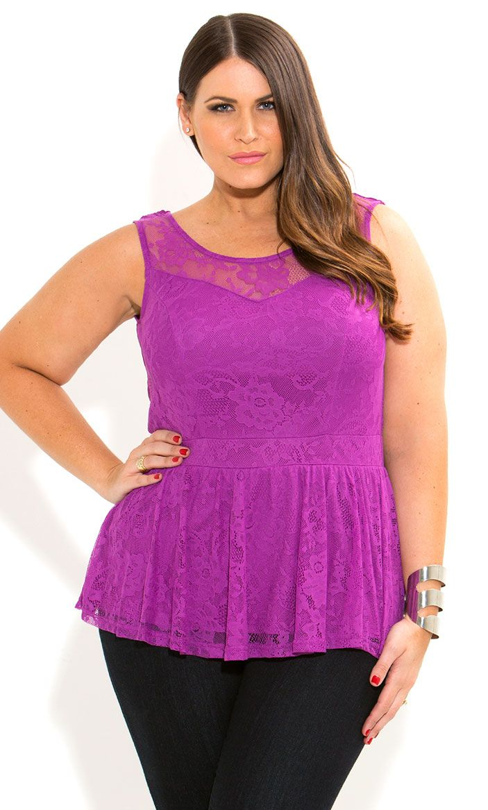 City Chic - LACE PEPLUM TOP - Women\'s plus size   My Style ...