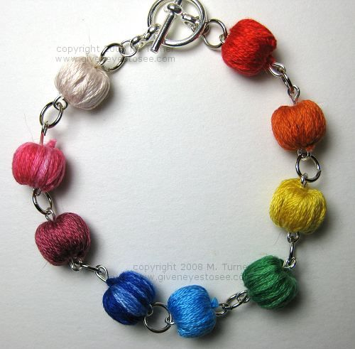 Miniature Yarn Ball Rainbow Bracelet