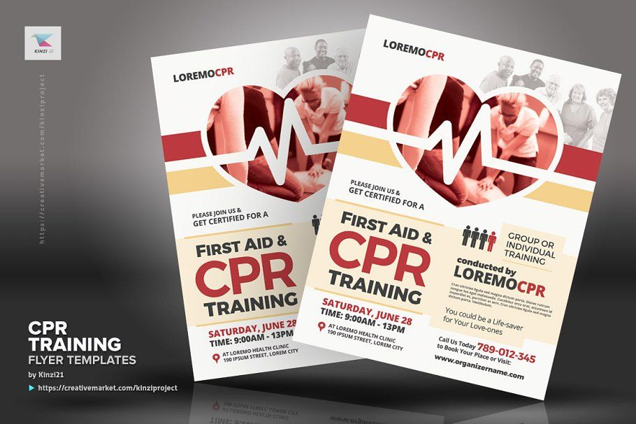 Cpr Training Flyer Templates Cpr Training Cpr First Aid Cpr