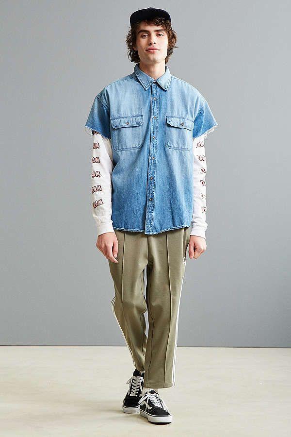 Slide View: 6: Vintage Denim Cap Sleeve Button-Down Shirt