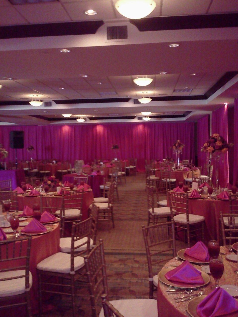 @Sarah Hilton Garden Inn Lakeland Pink Wedding   Ballroom Decked Out In  Pink Satin Great Ideas