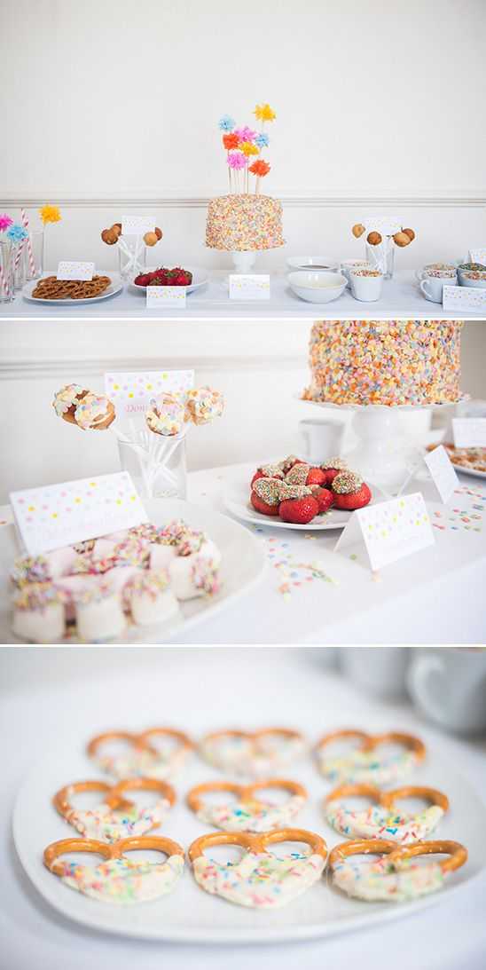 DIY Sprinkle Dessert Table Ideas Dessert table Sprinkles and
