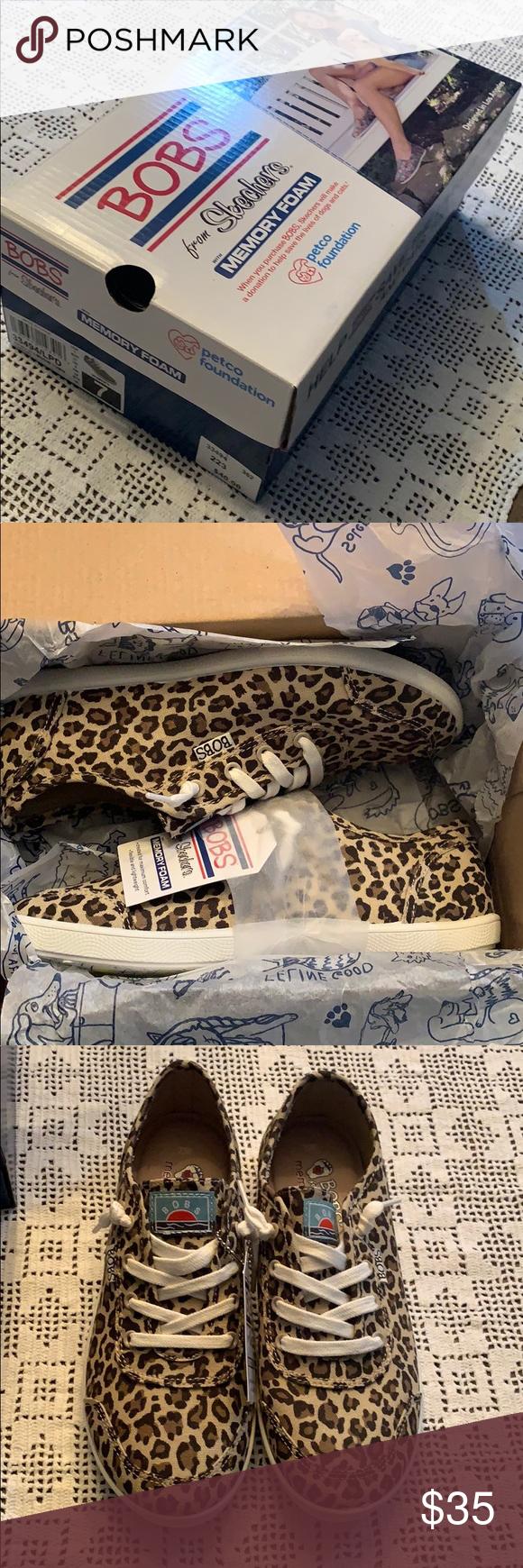 Skechers BOBS Leopard Print slip on
