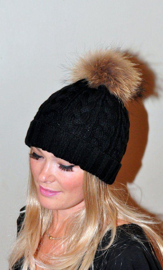 Black Pompom Hat Beanie Women Black Hat Fur Pom Pom Hat SALE Ski Hat Cabled  Hat Raccoon Fur Pom P deacfea3359