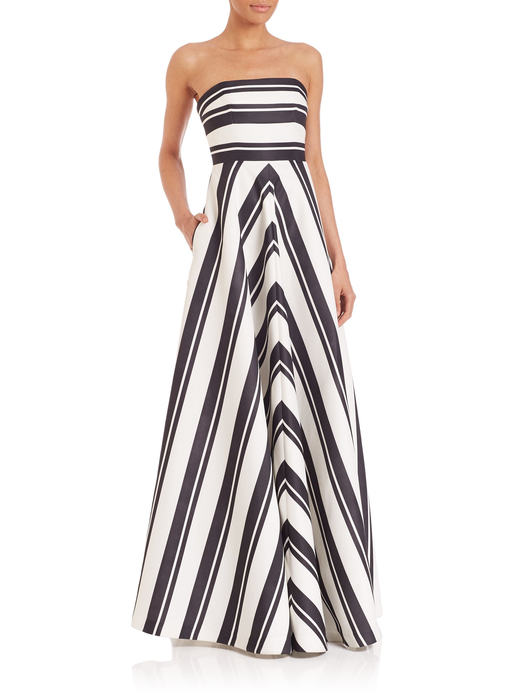 striped strapless gown - Black Halston Heritage CeCTx65jQi
