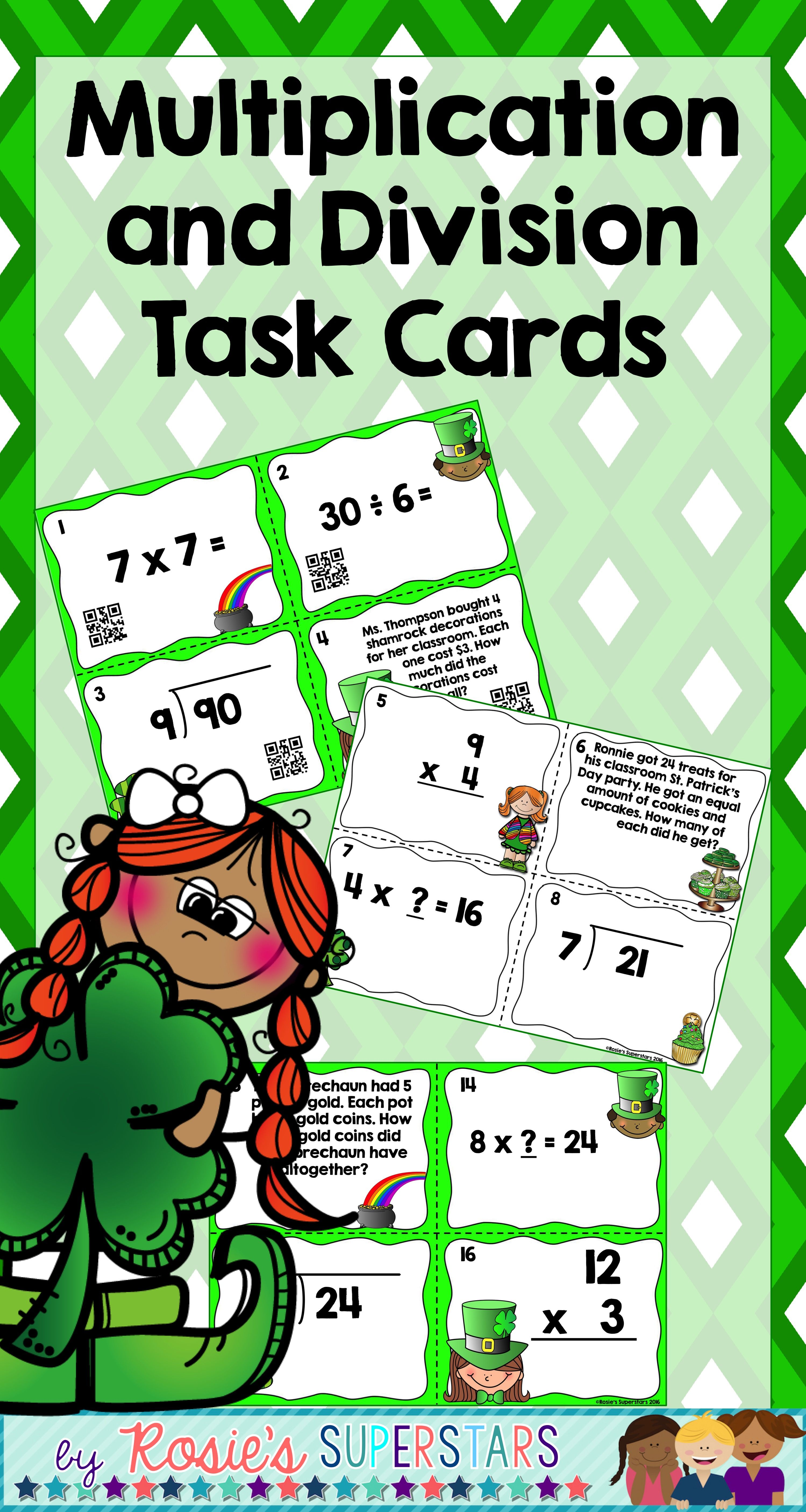 St Patrick S Day Multiplication And Division Task Cards