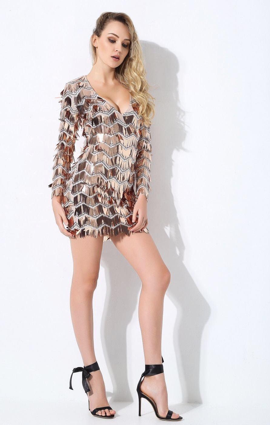 Keep them keen rose gold long sleeve sequin tassel mini