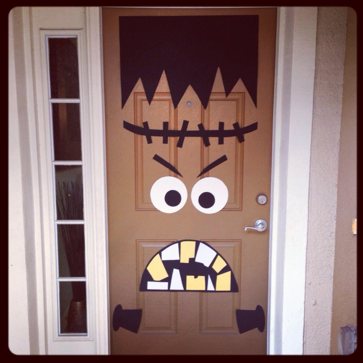 Front door Halloween decor DIY Frankenstein I absolutely