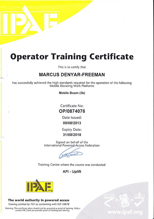 Ces Ipaf Licence  Operator Training Certificate  Certificates