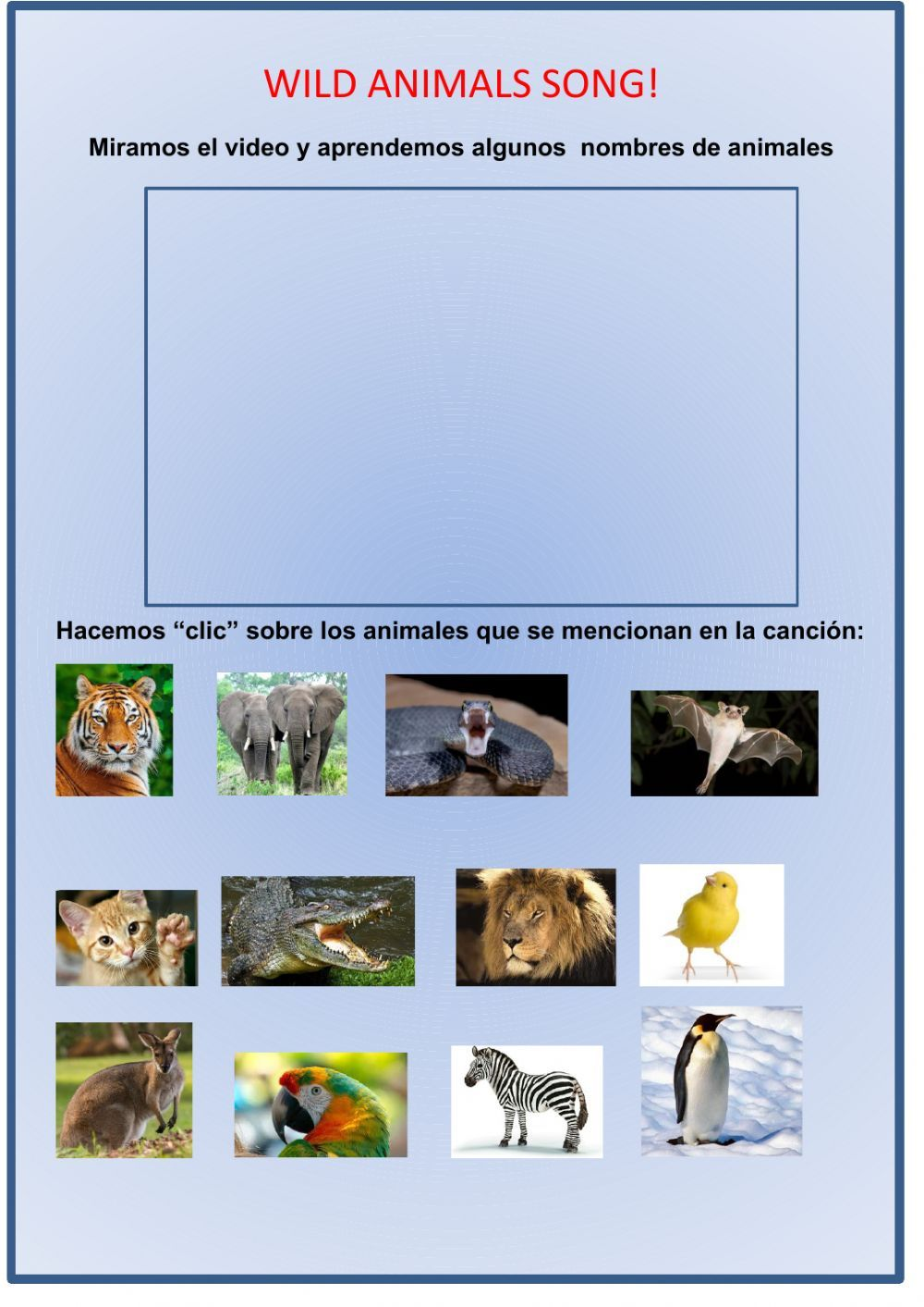 Wild animals song and activity Interactive worksheet in