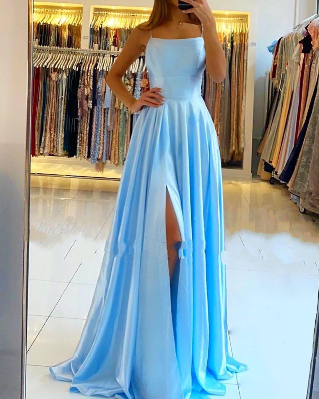 modern blau abendkleider lang | günstige abendmoden