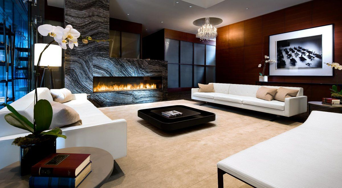 Beautiful Shangri La Hotel Toronto Condo Lobby Residence Interior Decor With Modern Fireplace And Orchid Flower
