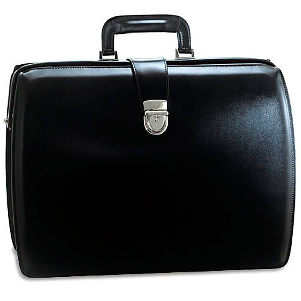 Jack Georges Mens Personalized Initials Embossing Elements Classic Leather Briefcase In Black Laptop Cases