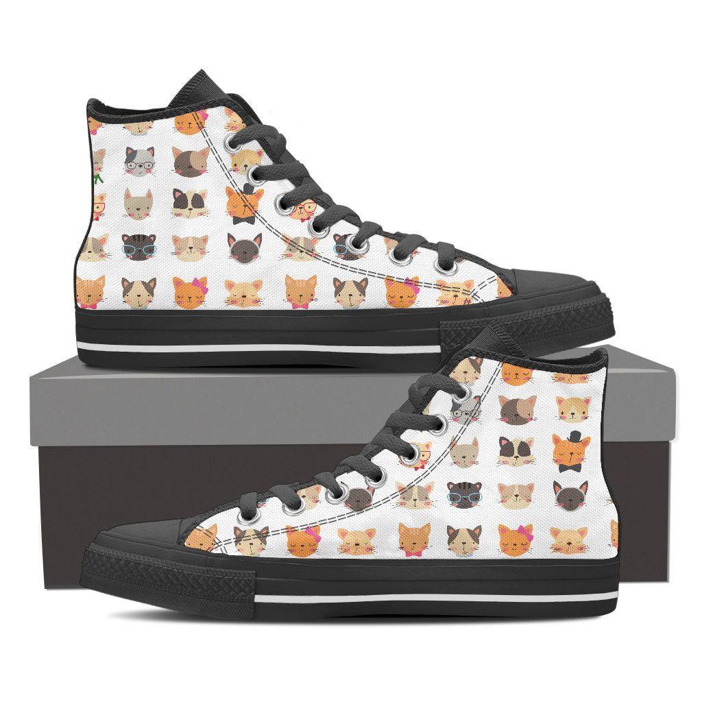 6872c4d8a0a47 Cute Cat Faces Women's Canvas Shoes