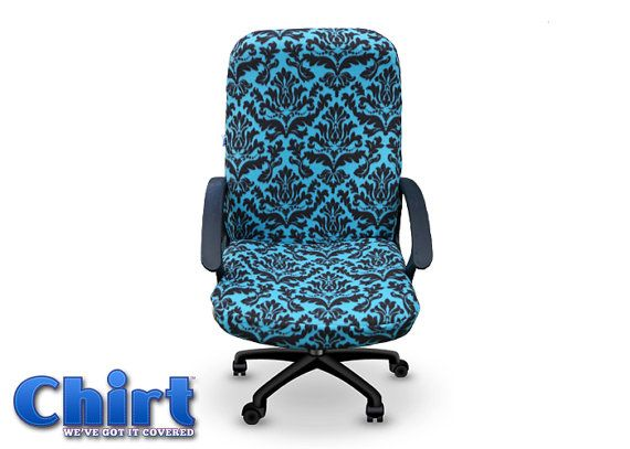 The tiffany teal and brown damask chirt custom by for Teal and brown chair
