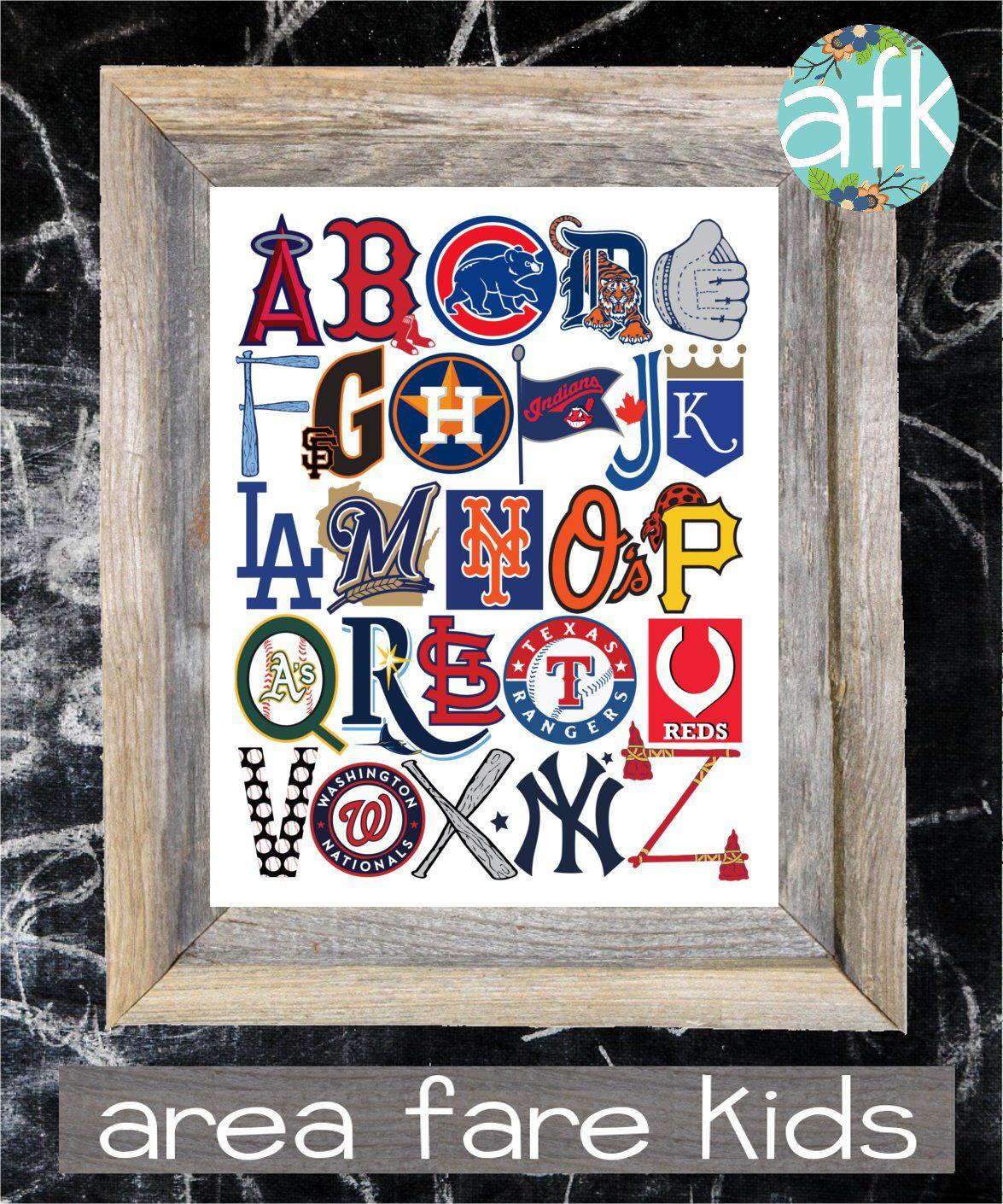Mlb Abc Nursery Art Print By Areafarekids On Etsy Https Www Etsy Com Listing 171513482 Mlb Abc Nursery Art P Nursery Art Prints Alphabet Wall Art Abc Nursery