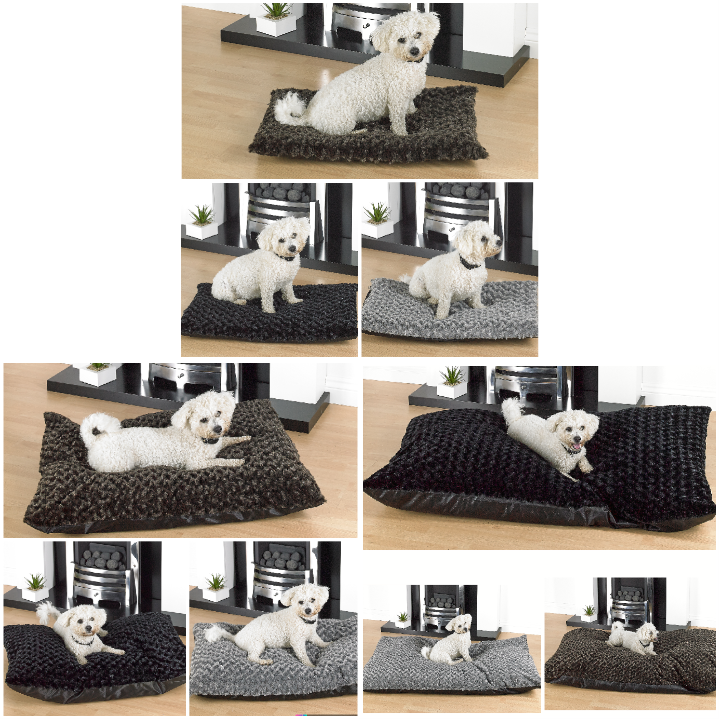 Washable Fully Filled Rose Fur Dog Beds With Anti Slip