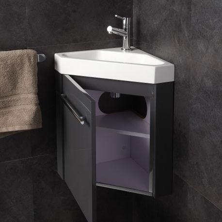 Lave Mains D Angle Complet Pour Wc Avec Meuble Couleur Gris Anthracite Avec Images Meuble Lave Main Lave Main Petit Lavabo