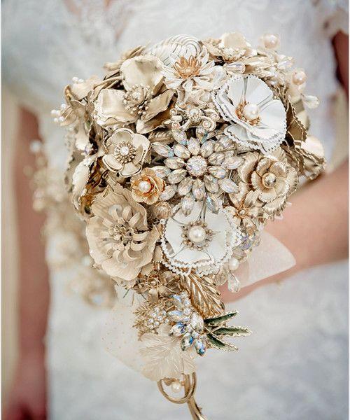Golden Shadows Tear Drop Wedding Vintage Brooch Bouquet Bf