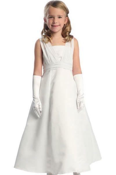 Satin communion bridesmaid/'s dress