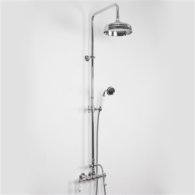 Edwardian Exposed Wall Shower With Diverter And Handheld In Chrome Chrome Bathroom Fixtures Shower Design Walk In Shower Designs