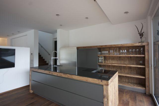 kombination beton und holz Küche Möbel - Küchen - Kücheninsel - matt schwarze kchen