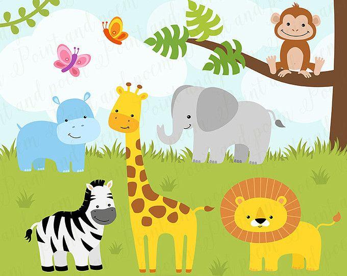 jungle animal clipart safari clip art jungle clip art jungle rh pinterest com baby animal clipart black and white baby animal clip art images