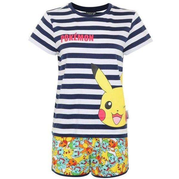 Topshop Pokemon Pyjama Set ($27) ❤ liked on Polyvore featuring intimates, sleepwear, pajamas, cotton pjs, cotton pajamas, cotton jersey, cotton pajama set and topshop pyjamas
