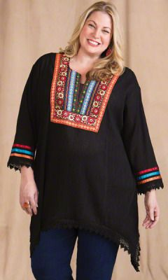 $89 plus size tops - tunisia tunic - plus and super plus size