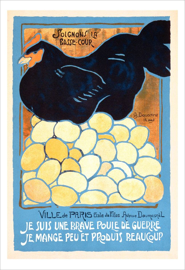 French wall art - The French Hen -13x19 - Vintage French poster ...