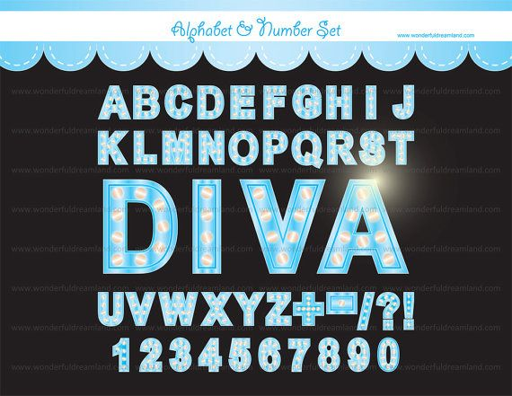Hollywood Broadway Alphabet and Number PDF PNG Set - Instant ...