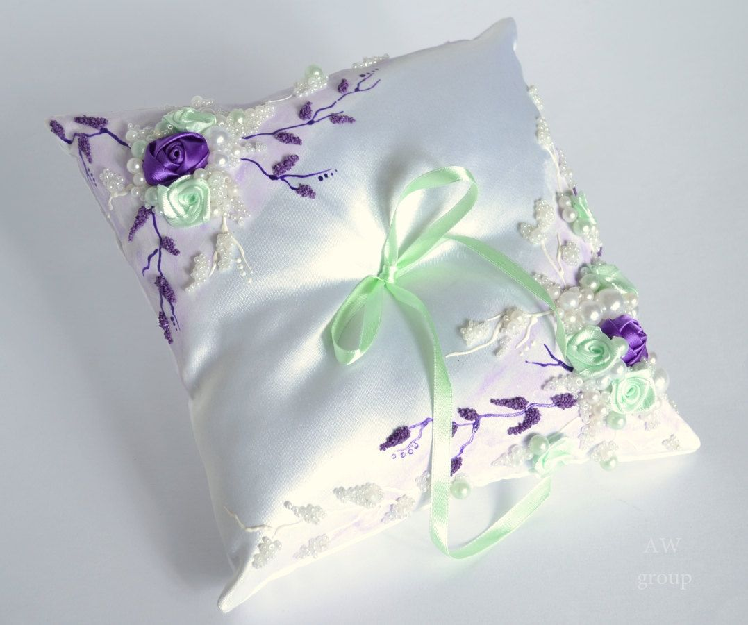 Wedding ring bearer pillow, Purple roses wedding decor, Wedding ...