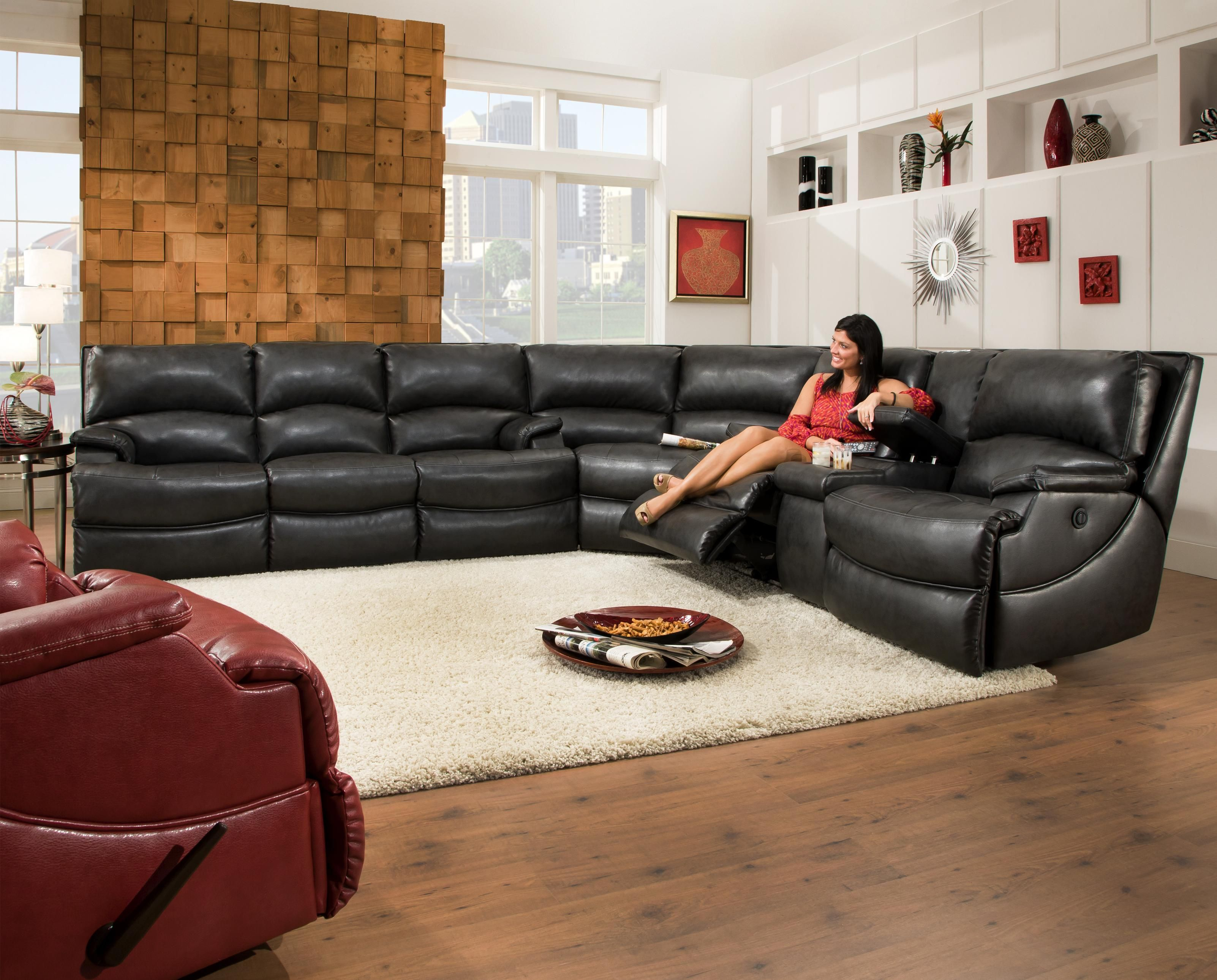 Shazam Six Seat Reclining Sectional Sofa With CupHolders And - Leather sofas tampa