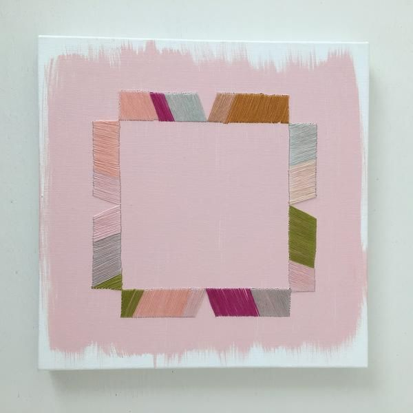 artist emily keating snyder medium acrylic and thread on canvas
