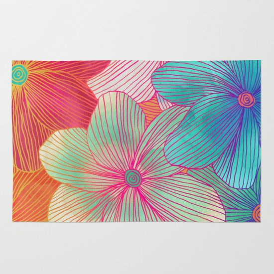 Between the Lines - tropical flowers in pink, orange, blue & mint Rug by Micklyn | Society6