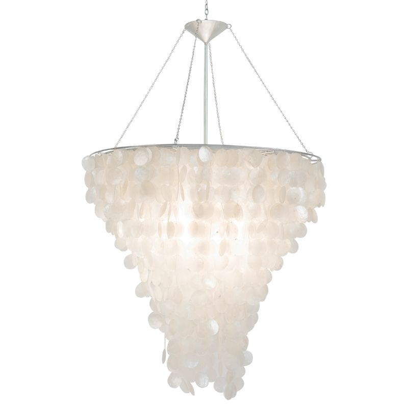 World Away Large Round Capiz Shell Chandelier With Interior Double